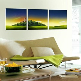 New Arrival Beautiful Green Mountain and Plain Scenery Print 3-piece Cross Film Wall Art Prints