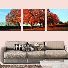 New Arrival Beautiful Red Tree Print 3-piece Cross Film Wall Art Prints