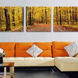 New Arrival Beautiful Yellow Forest Print 3-piece Cross Film Wall Art Prints