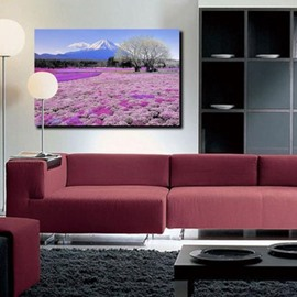 New Arrival Beautiful Purple Sea of Flowers and Mount Fuji Print Cross Film Wall Art Prints