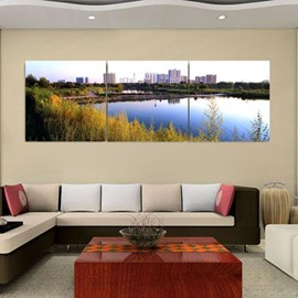 New Arrival Beautiful City Near the Lake Print 3-piece Cross Film Wall Art Prints
