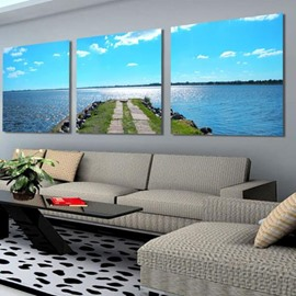 Beautiful Blue Sea and Beach Road Print 3-piece Cross Film Wall Art Prints