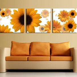New Arrival Lovely Yellow Daisy Flowers Print 3-piece Cross Film Wall Art Prints