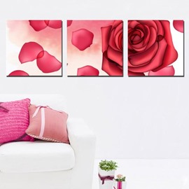 New Arrival Romantic Red Rose and Petals Print 3-piece Cross Film Wall Art Prints