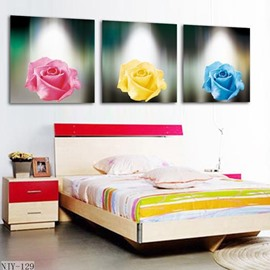 New Arrival Beautiful Colorful Roses Print 3-piece Cross Film Wall Art Prints