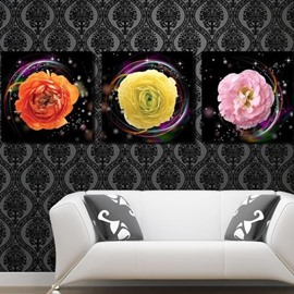 New Arrival Beautiful Colorful Peony Flowers Print 3-piece Cross Film Wall Art Prints