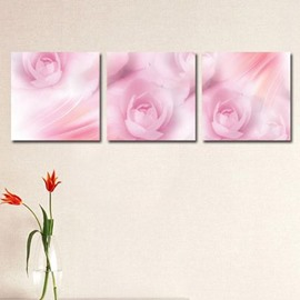 New Arrival Lovely Warm Pink Roses Print 3-piece Cross Film Wall Art Prints
