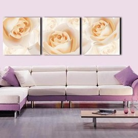 Lovely Champagne Roses Print 3-piece Cross Film Wall Art Prints