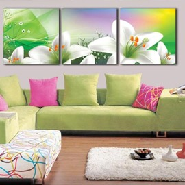 New Arrival Lovely Lily Flowers Print 3-piece Cross Film Wall Art Prints