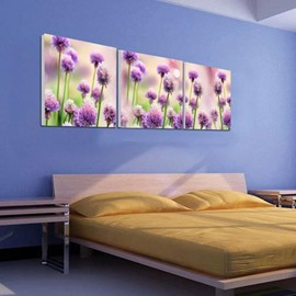 New Arrival Beautiful Purple Flowers Print 3-piece Cross Film Wall Art Prints