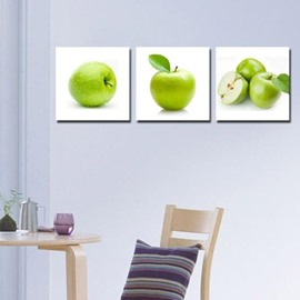 New Arrival Lovely Green Apples Print 3-piece Cross Film Wall Art Prints