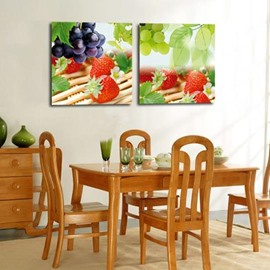 New Arrival Lovely Grapes and Strawberry Print 2-piece Cross Film Wall Art Prints