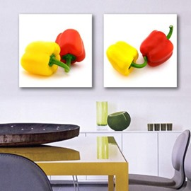New Arrival Lovely Red and Yellow Peppers Print 2-piece Cross Film Wall Art Prints