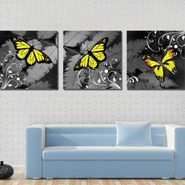 New Arrival Modern Style Lovely Yellow Butterfly Print 3-piece Cross Film Wall Art Prints