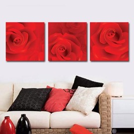 New Arrival Romantic Red Rose Print 3-piece Cross Film Wall Art Prints