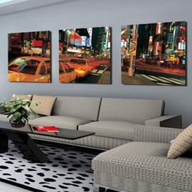 New Arrival Beautiful City in the Night Print 3-piece Cross Film Wall Art Prints