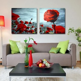 New Arrival Oil-painting Style Lovely Red Flower Blossoms Print 2-piece Cross Film Wall Art Prints