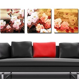 New Arrival Beautiful Peony Flowers Print 3-piece Cross Film Wall Art Prints
