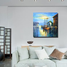 New Arrival Oil-painting Style Lovely Waterside Scenery Print Cross Film Wall Art Prints