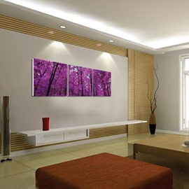 New Arrival Beautiful Purple Trees Print 3-piece Cross Film Wall Art Prints