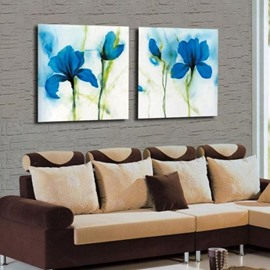 Amazing Blue Flowers Print 2-piece Cross Film Wall Art Prints