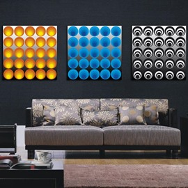 New Arrival Modern Colorful Rounds and Circles Print 3-piece Cross Film Wall Art Prints