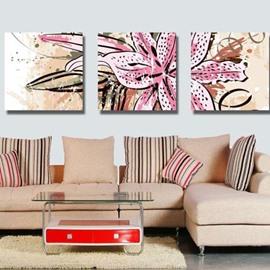 New Arrival Beautiful Big Lily Flower Print 3-piece Cross Film Wall Art Prints