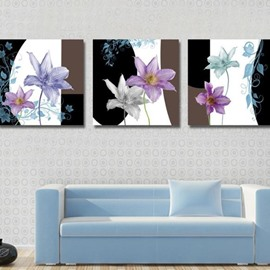 New Arrival Lovely Colorful Flowers Print 3-piece Cross Film Wall Art Prints
