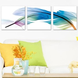 Lovely and Elegant Colorful Feathers Print 3-piece Cross Film Wall Art Prints