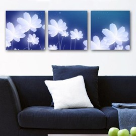 New Arrival Lovely White Flowers Print 3-piece Cross Film Wall Art Prints