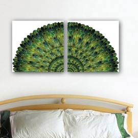 New Arrival Beautiful Green Peacock Tail Print 2-piece Cross Film Wall Art Prints
