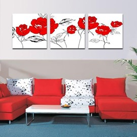 New Arrival Lovely Red Flowers Print 3-piece Cross Film Wall Art Prints
