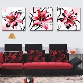 New Arrival Beautiful Red Lilies Print 3-piece Cross Film Wall Art Prints