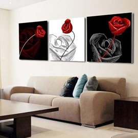 New Arrival Elegant Red Roses and Shadow Print 3-piece Cross Film Wall Art Prints