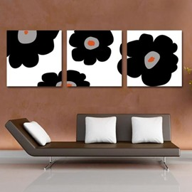 New Arrival Lovely Black Flowers Print 3-piece Cross Film Wall Art Prints
