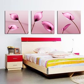 New Arrival Beautiful Pink Calla Flowers Print 3-piece Cross Film Wall Art Prints