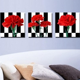 New Arrival Beautiful Red Flowers Print 3-piece Cross Film Wall Art Prints