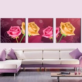 New Arrival Beautiful Pink and Yellow Roses Print 3-piece Cross Film Wall Art Prints