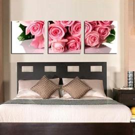 New Arrival Beautiful Pink Roses Bouquet Print 3-piece Cross Film Wall Art Prints