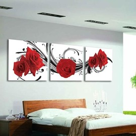 New Arrival Elegant Red Roses Print 3D Style 3-piece Cross Film Wall Art Prints