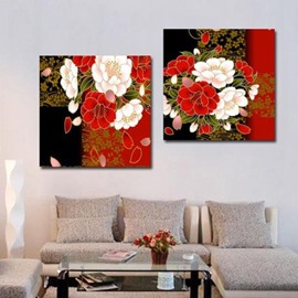 New Arrival Luxurious Flowers Print 2-piece Cross Film Wall Art Prints