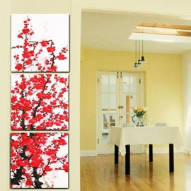 New Arrival Beautiful Red Plum Blossoms Print 3-piece Cross Film Wall Art Prints
