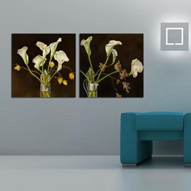 New Arrival Elegant White Calla and Withering Flowers Print 2-piece Cross Film Wall Art Prints