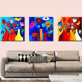 New Arrival Lovely Colorful Flowers Painting Print 3-piece Cross Film Wall Art Prints