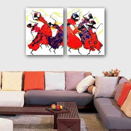New Arrival Lovely Dancing Ladies Print 2-piece Cross Film Wall Art Prints