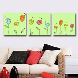 New Arrival Lovely Cartoon Flowers Print 3-piece Cross Film Wall Art Prints