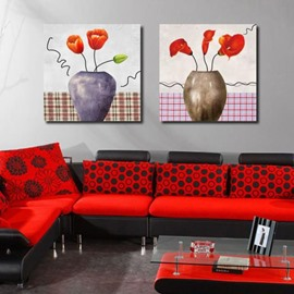 New Arrival Lovely Tulips and Callas in Vase Print 2-piece Cross Film Wall Art Prints