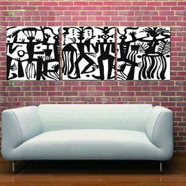 New Arrival Modern Style Dancing Crowds Print 3-piece Cross Film Wall Art Prints