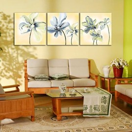New Arrival Lovely Beige Flowers Painting Print 3-piece Cross Film Wall Art Prints