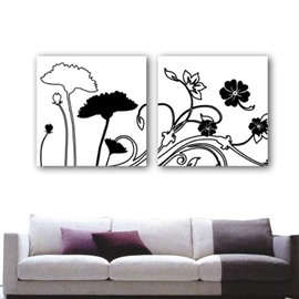 New Arrival Elegant Simple Floral Patterns Print 2-piece White Cross Film Wall Art Prints